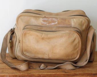 Vintage Tan Leather Flight Bag/ Distressed Leather Overnight Travel Bag/ Leather Carry On Bag 081217