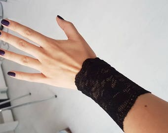 Black Lace Bracelet, Lace Arm Band Tattoo Cover Up Lace Wrist Bracelet wrist cuffs Stretch lace bracelet wristlet