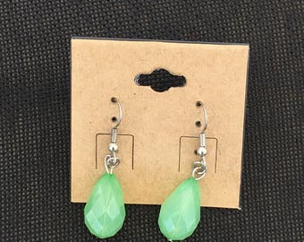 Green Raindrop Earrings