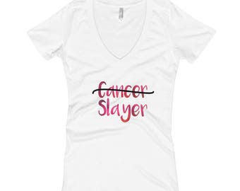 Cancer Gift, Beat Cancer Shirt, Breast Cancer shirt, For Cancer Survivors/Cancer Fighters --Cancer SlayerV-Neck Graphic Tee Shirt