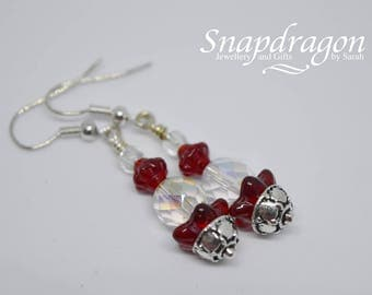 Dangle drop earrings with deep red and faceted crystal glass beads