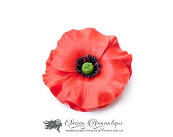 Brooch Poppy - Polymer Clay Flowers
