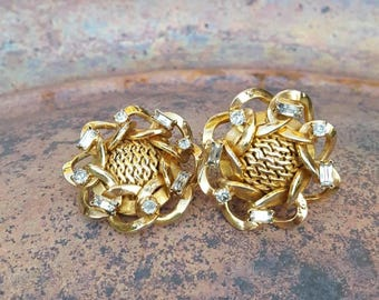 Golden Vintage Rhinestone Earrings