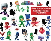 32x PJ Masks Clipart PNG  high quality- printable Digital Cliparts Graphic Instant Download pj masks - centerpiece - sticker - clip art
