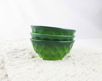 Three Ombre Green, Pineapple/Kimberly Pattern, Fire-King Bowls - Kitchen or RV - Soup, Salad, Ice Cream - Camping - Retro Kitchen - Collect