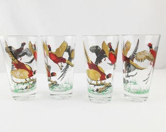 Set of Four 8 Oz. Highball Glasses - Pheasant Drinking Glasses  - Gold Detailed Pheasants - Mix and Match - Barware - Sporting - Hunting