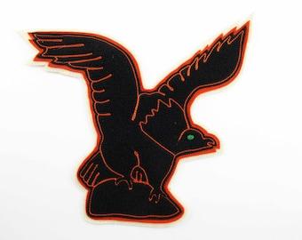 Chenille Hawk/Falcon/Eagle Patch - Black and Orange on Ivory Felt - Classic Letter - Letterman Patch - Jacket, Vest, Blanket, Bag