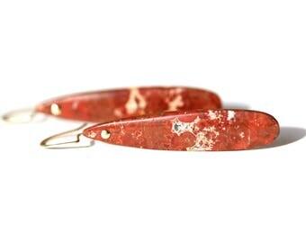 Red Jasper Drop Earrings - Teardrop Dangle Earrings - 14K Gold Filled Jewlery - One Of A Kind