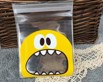 5 Pocket pouches yellow Monster nice cellophane bag