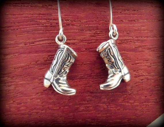 Sterling silver cowgirl boot earrings, cowgirl jewelry, western jewelry, rodeo award, cowboy boot