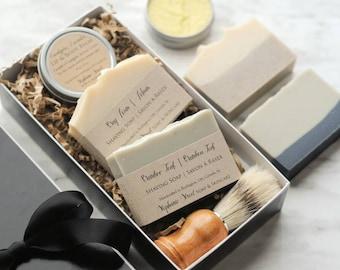 Wet Shaving Gift Set, handmade soap, natural lip and body balm, shaving brush, Father's Day, Groomsmen gift