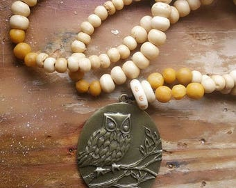 Owl Necklace, owl totem, pagan necklace, totem necklace, bead necklace, bone necklace,