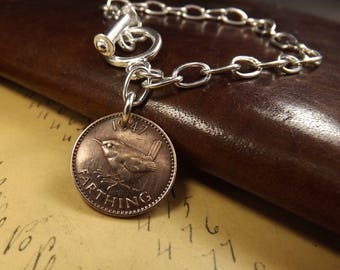 Genuine 1947 Farthing Large Link Silver Plated Toggle Clasp Charm Bracelet 70th Birthday