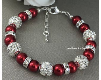 Red Bracelet Rhinestones and Pearl Christmas Gift for Her Christmas Jewelry Red Pearl Bracelet Rhinestones and Pearl Bracelet Christmas 2017