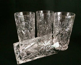 CUT CRYSTAL PINWHEEL & Wheat Water Glasses - Crystal Pinwheel Highball Glasses