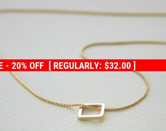 SALE 20% OFF Tiny Square Necklace, Gold Necklace, tiny gold necklace, delicate necklace, geometric necklace, charm necklace. geometric