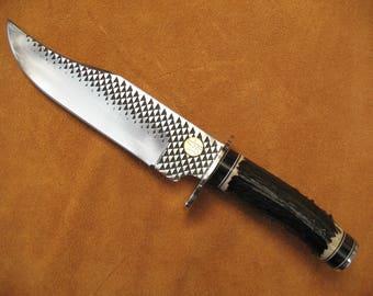 Bowie Knife with Black Deer Antler Handle