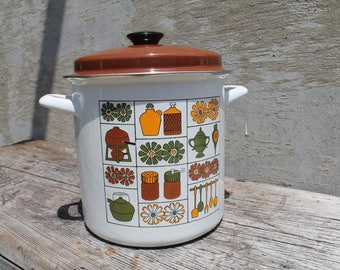 Enamel Stock Pot with Lid, Mid Century Vegetable Steamer, Retro Cookware, Cookware, Daisy, Flowers, Seafood Steamer, Seafood Cooker