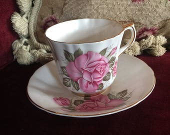 Country English Cottage Rose Bone China Royal London Teacup and saucer
