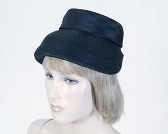 Vintage Women's Black Straw Hat - Milbrae Exclusives - Satin Bow - Large Front Brim - Church Hat - Mid Century Hat - Size Medium -