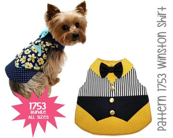 Winston Dog Shirt Pattern 1753 * Bundle All Sizes * Dog Clothes Sewing Pattern * Dog Vest Pattern * Dog Shirt Pattern * Dog Bow Tie Pattern