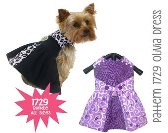 Olivia Dog Dress Sewing Pattern 1729 * Bundle All Sizes * Dog Clothes Sewing Pattern * Small Dog Dress Pattern * Dog Harness Dress Pattern
