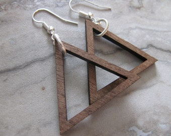 Small Walnut Wood Triangle Hoop Earrings Silver Ear Wires Joanna Gaines Inspired Small Hoops Toniraecreations