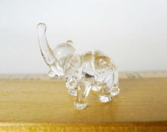 Elephant Miniature, Small Elephant Figurine, Glass Elephant Mouth Blown Vintage, Glass Animal Mint, Tiny African Animal, Elephant Lover Gift