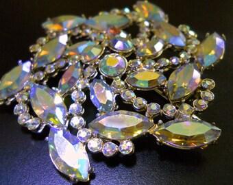 JULIANA D&E AB Rhinestone Snowflake Pinwheel Brooch, Rainbow Marquis Cuts, Vintage
