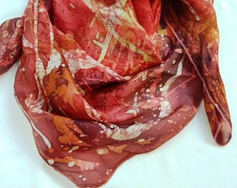 Hand painted silk Gift for her Red scarf  Batik Coral scarf silk painting Natural silk