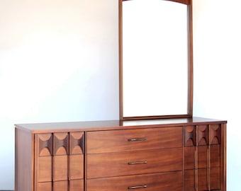 SOLD - Kent Coffey Perspecta Lowboy with Mirror Walnut + Rosewood 9-Drawer Dresser Mid-Century Modern Vintage Solid Wood