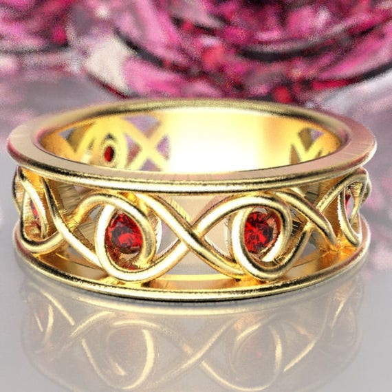 Celtic Ruby Wedding Ring With Infinity Knot Design in 10K Gold, Made in Your Size CR-511