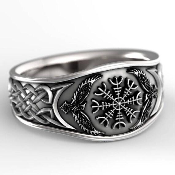 Oden's Ravens & Helm of Awe Ring, Mens Wedding Band, Raven Jewelry, Odin Viking Ring, Silver 10K 14K 18K Gold Palladium Platinum, 1160