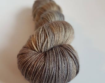 Skein of superwash Merino Wool / Nylon - hand - dyed Fingering / Sock - color wood burned