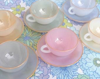 Arcopal Tea Set, Opalescent Tea Set, Arcopal Cups and Saucers, Harlequin, Pastel Tea Set, French Tea set, Arcopal Glassware, French Arcopal
