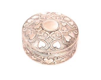 Vintage ilver Plated Jewellery Box, Small Silver Heart Jewelry Box Hinged Lid, Round Ornate Box, Silver Trinket Box, Art Nouveau Ring Box