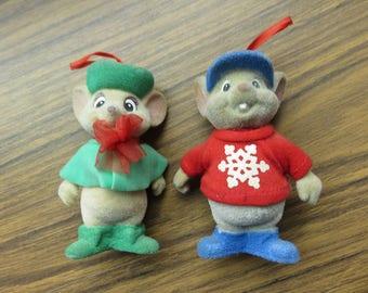 Vintage Pair of  Disney American Tail Fievel Felt Christmas Ornament 1986