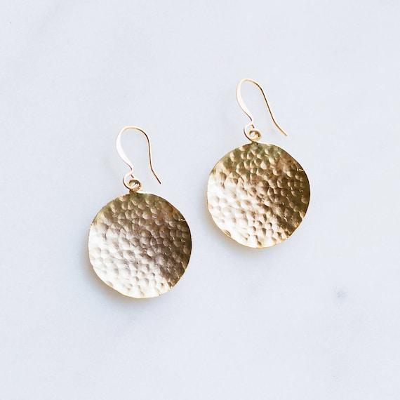 Hammered Gold Earrings Dangle, Gold Dangle Earrings, Hammered Earrings, Hoop Earrings, Handmade Gold Earrings, Simple Gold Earrings