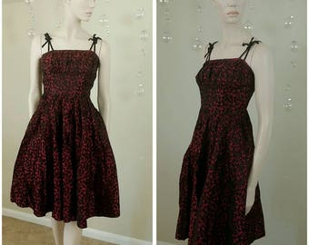 Beautiful Vintage red and black 50s handmade dress