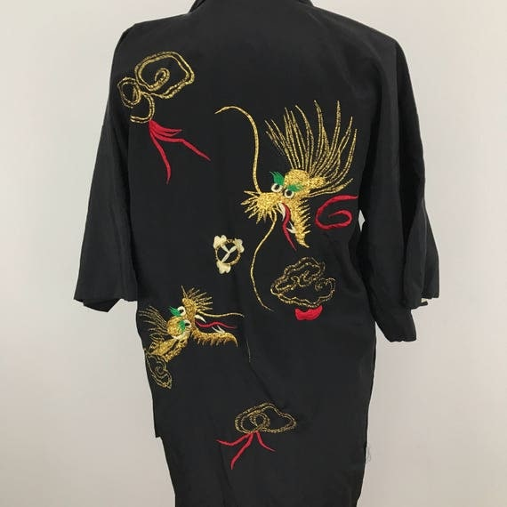 Vintage silk rayon kimono gown embroidery gold dragon robe short silky burlesque pin up dressing gown black and gold lined 1950s