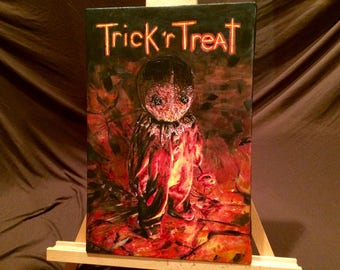 """TRICK r' TREAT   Hand Painted Acrylic Paint on Stretched Canvas 12"""" x 17"""""""