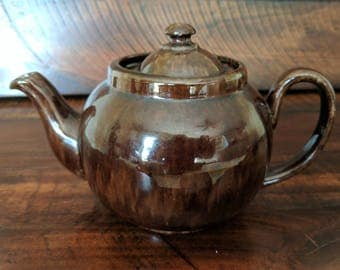 Stamped Brown English Tea Pot - Ceramic/Stoneware, Marked Made in England