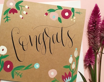 Congrats card | Handmade floral watercolor and calligraphy card | Baby Shower card | Bridal Shower card | Wedding card
