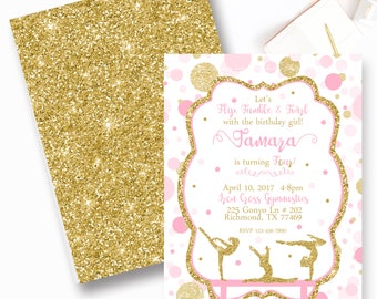 Gymnastic Birthday Invitation, Pink and Gold Polka Dot Gymnastic Invitation, Twirl, Tumble- YOU PRINT