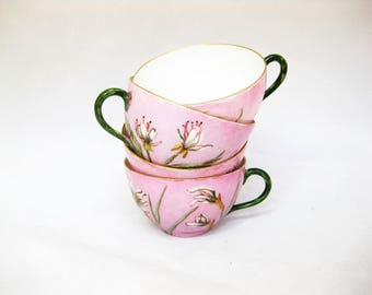 Vintage Hand Painted Porcelain Tea Cups, Haviland Limoges China Tea Cups, Antique Tea Cups, set of 4