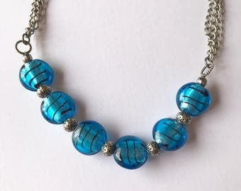 Turquoise Striped Lentil Bead necklace, on Multistrand Gunmetal chain, Bold, Blue and Beautiful, Reminiscent of Caribbean Waters
