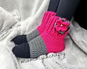 PATTERN Only- Color Block Fun Crochet Slipper Boots - Women- Fun - Colorful - All Sizes - Pattern Only