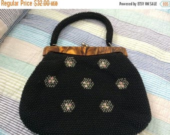 30% OFF Black Corded Beaded Bag with Lucite Frame and Conmar Zipper