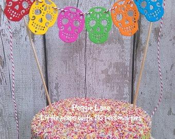 Sugar Skull Cake bunting, Candy Skull bunting, Sugar Skull Cake Topper, Cake Topper, Wedding Cake Topper, Mini Bunting, Peggie Lane