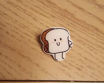 Kawaii Bread Guy Pin